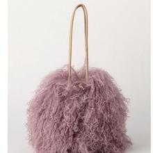 New Winter Bucket Real Fur Shoulder Bags Japan Beach Wool Cylinder Handbag Wool Plush Women Bag Crossbody Handbag purse