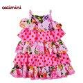 Catimini menina vestido estampado verão 2014 dot e flor francês marca vestido de criança vestido de verão