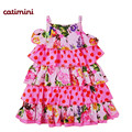 catimini  baby girl print dress 2014 summer dot and flower child   french dress brand summer dress