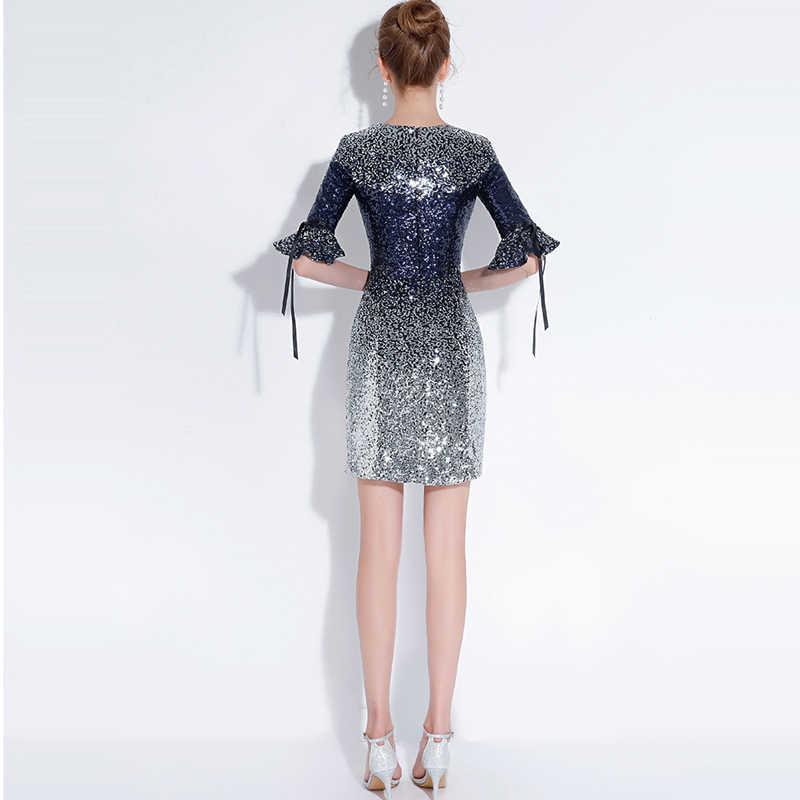 aca3620bc2a ... Это YiiYa коктейльное платье 2018 Половина рукава вечерние модные  дизайнерские Bling блестками Элегантные Короткие коктейльные платья ...