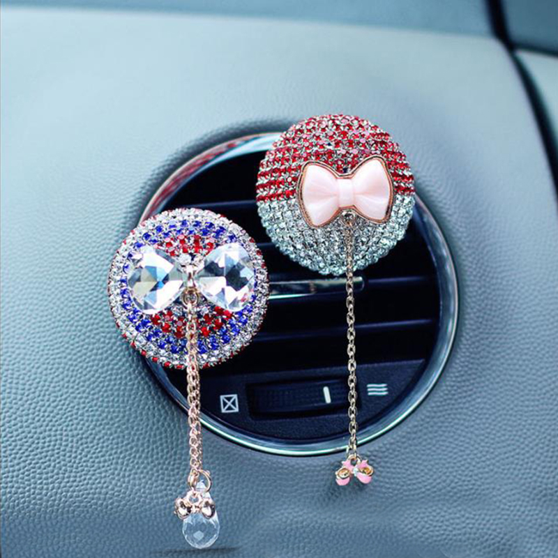 Car Air Outlet Perfume Clip Car Aromatherapy Clip Butterfly Crystal Inlaid Rhinestone Solid Fragrance Piece Interior Accessories