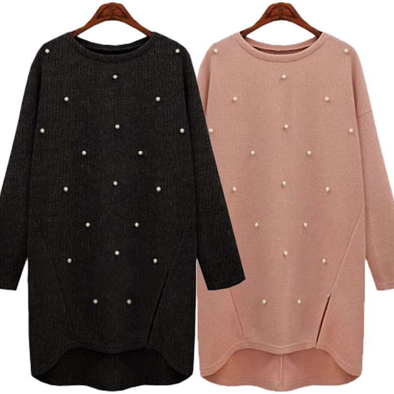 New Autumn Winter Women Shirts Vestidos Plus Size Casual Loose MD Long Solid Beading Knitted Pullover Shirt For Women Large Tops