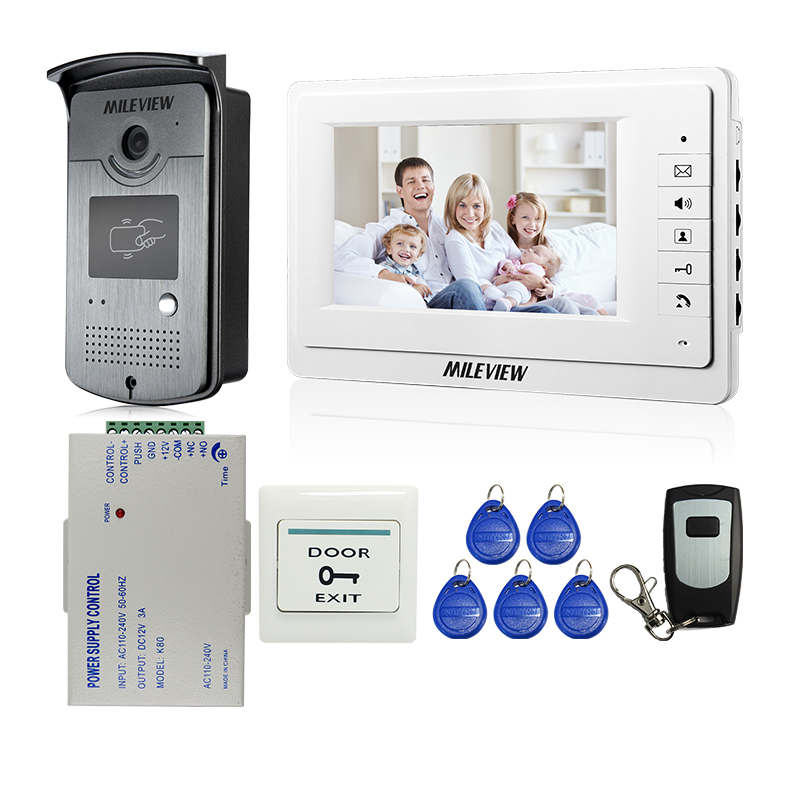 New Wired 7 TFT Screen Video Door Phone Intercom Entry System + Outdoor RFID Card Reader Camera + Remote Control FREE SHIPPING 125khz rfid card access control video door phone system wired 7 inch color screen video door bell with rfid card reader