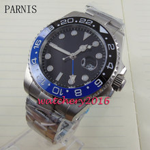 new 40mm Parnis black dial ceramic bezel Deployment sapphire glass GMT Automatic movement Men s business