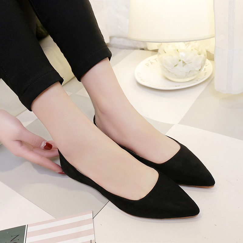 Women Pointed Toe Flats 2018 New Summer Flock Ladies Office Work Shoes Basic Spring Loafers Casual Slip On Ballerina 114 odetina 2017 new designer lace up ballerina flats fashion women spring pointed toe shoes ladies cross straps soft flats non slip