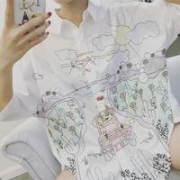 Новая Весенняя и Летняя женская Свободная белая рубашка, вышитая Длинная блузка с рисунком граффити, модная