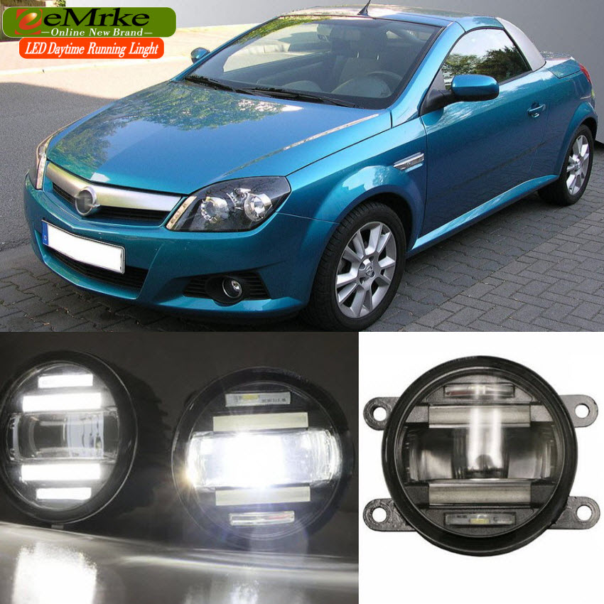 eeMrke Car Styling For Opel Tigra 2004-2009 2 in 1 LED Fog Light Lamp DRL With Lens Daytime Running Lights eemrke car styling for opel zafira opc 2005 2011 2 in 1 led fog light lamp drl with lens daytime running lights