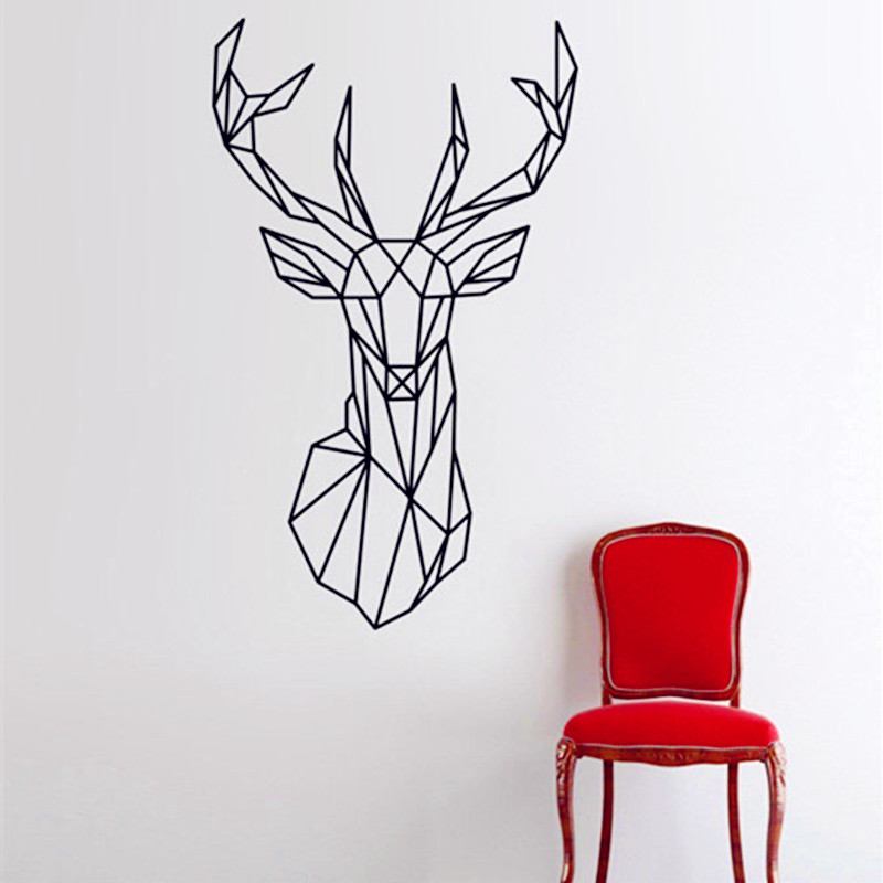 Geometric Animals Deer Vinyl Wall Decals Modern Style Creative Design Home Decor For Wall Decoration 3D Sticker Size 51 x 86 cm