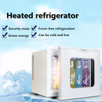 Tempered glass single door cold&warm refrigerator Household small refrigeration heating sample cabinet 17l comestic refrigerator