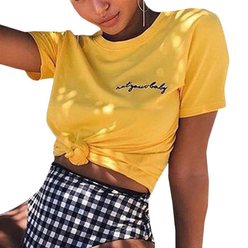 2018 Summer Cotton Short Sleeve Women T-shirt Letter Printed Yellow Embroidery Women Tops Sexy Shirt O-neck Simple Women Tee ...