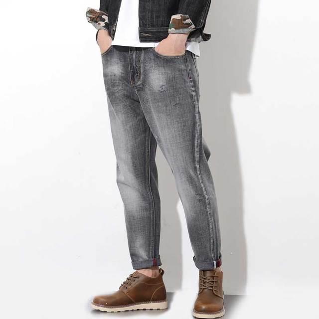1f20ec717 Moda Para Hombre Gris Descolorido Harem Negro Pantalones de Mezclilla Retro  Vaqueros Ocasionales Del Envío Libre