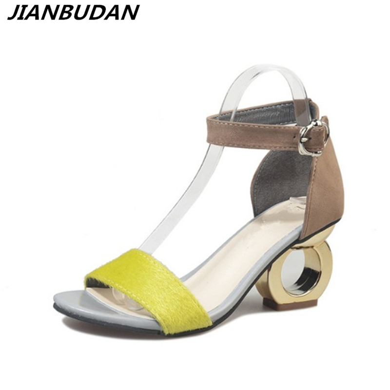 JIANBUDAN Female high-heeled sandals 2018 summer new fashion personality shaped with open-toed sandals woman shoes wild Office