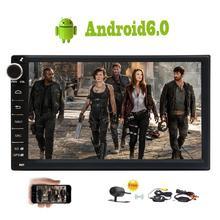 Бесплатная Беспроводной сзади Камера 2Din Android 6.0 стерео головное устройство Сенсорный экран Автомобильные ПК Поддержка bluetooth fm 1080 P видео 3G /4 г WI-FI