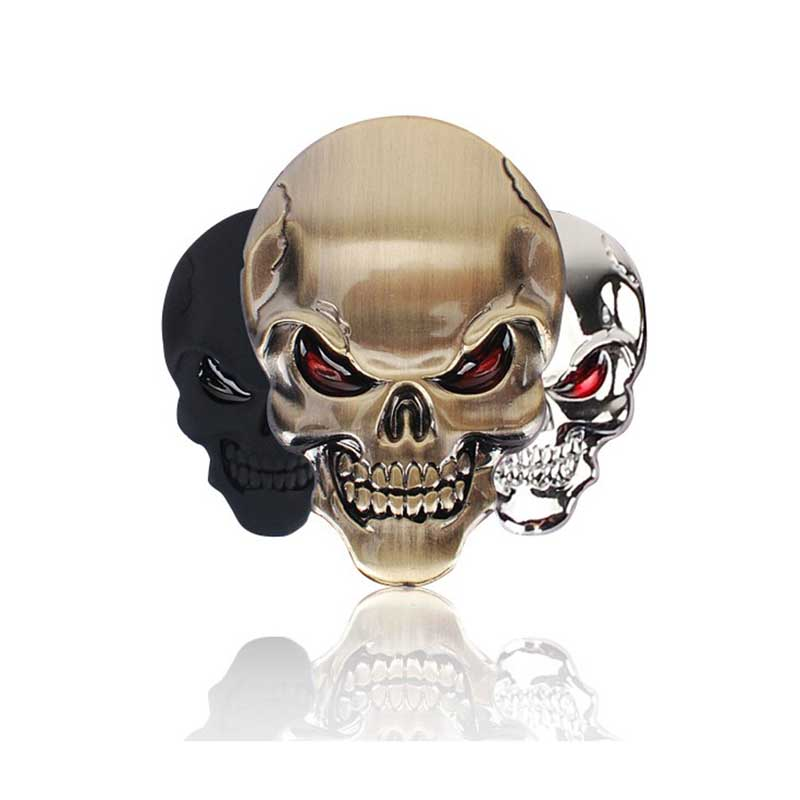1Pcs 3D Skull Zinc Alloy Metal Car Motorcycle Sticker Skull Emblem Badge Car Styling Stickers Accessories Car Decoration 1x car styling 3d metal emblem car body side stripe fit camaro corvette colorado for licensed stickers 3d sticker badge emblem