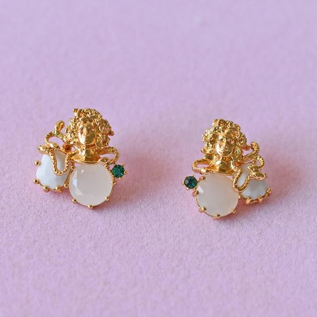 2017 Les Nereide Enamel Fashion Stud Earrings Jewelry For Girl Beautiful Medusa Gem Luxurious Accessories Wholesale Best Selling