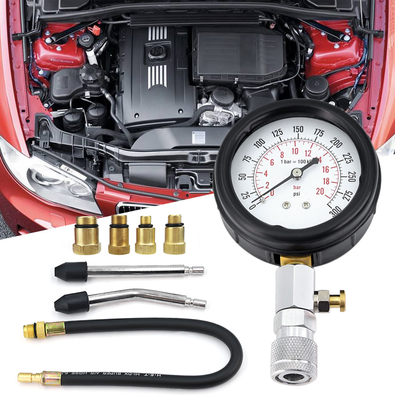 Gasoline Engine Compression Tester Auto Petrol Gas Engine Cylinder Car Motorcycle Pressure Gauge Tester Automotive Test Kit