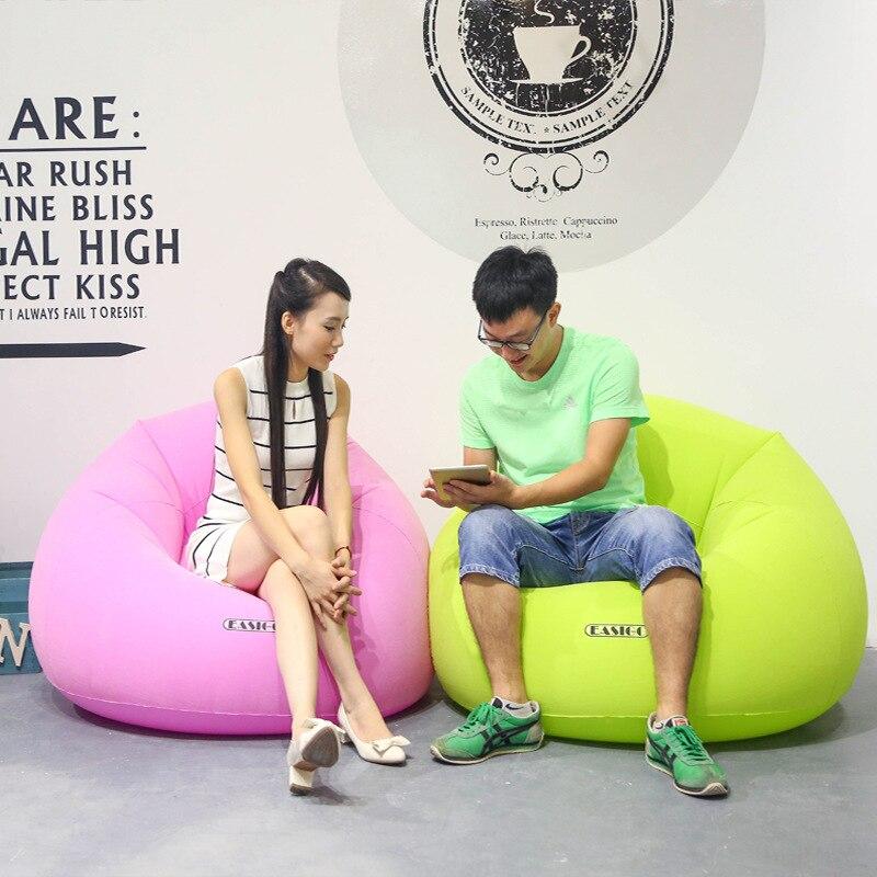Flocage pvc gonflable paresseux canapé ménage unique canapé, rose et vert grand canapé relax transat, gonflé intérieur canapé