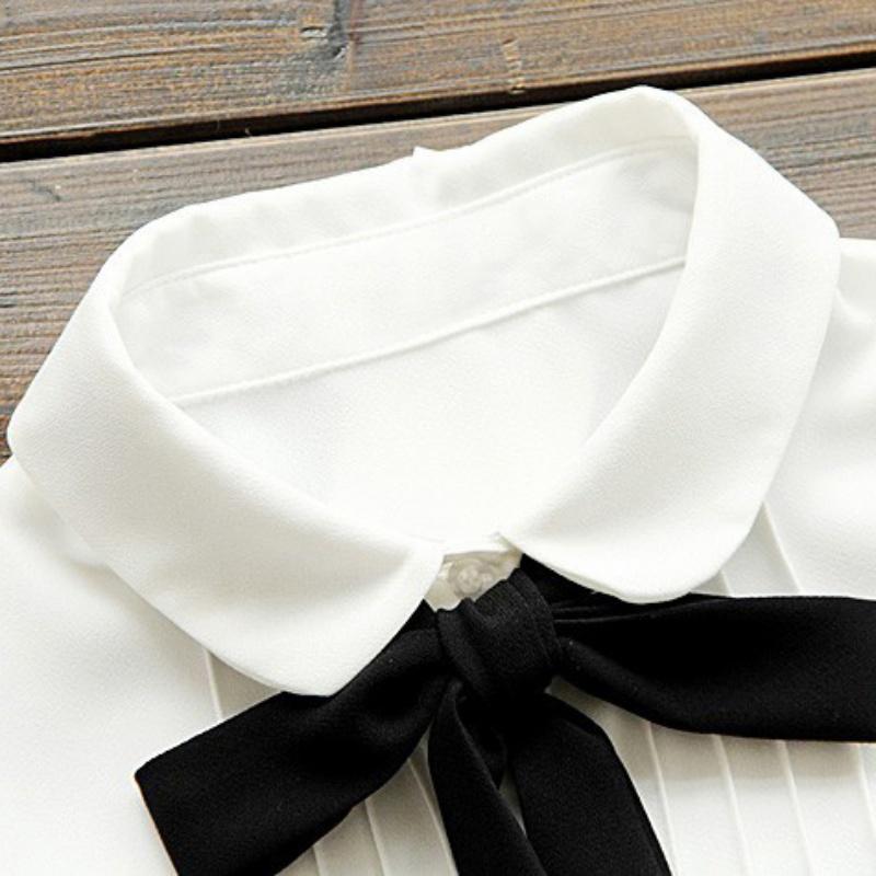 HTB1wmP4QXXXXXXoXVXXq6xXFXXXK - Korean Women Elegant Bow Tie White Blouses Clothing