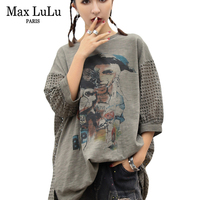 Max LuLu Fashion European Brand Sexy Girls Punk Streetwear Womens Mesh Long T Shirts Cotton Harajuku