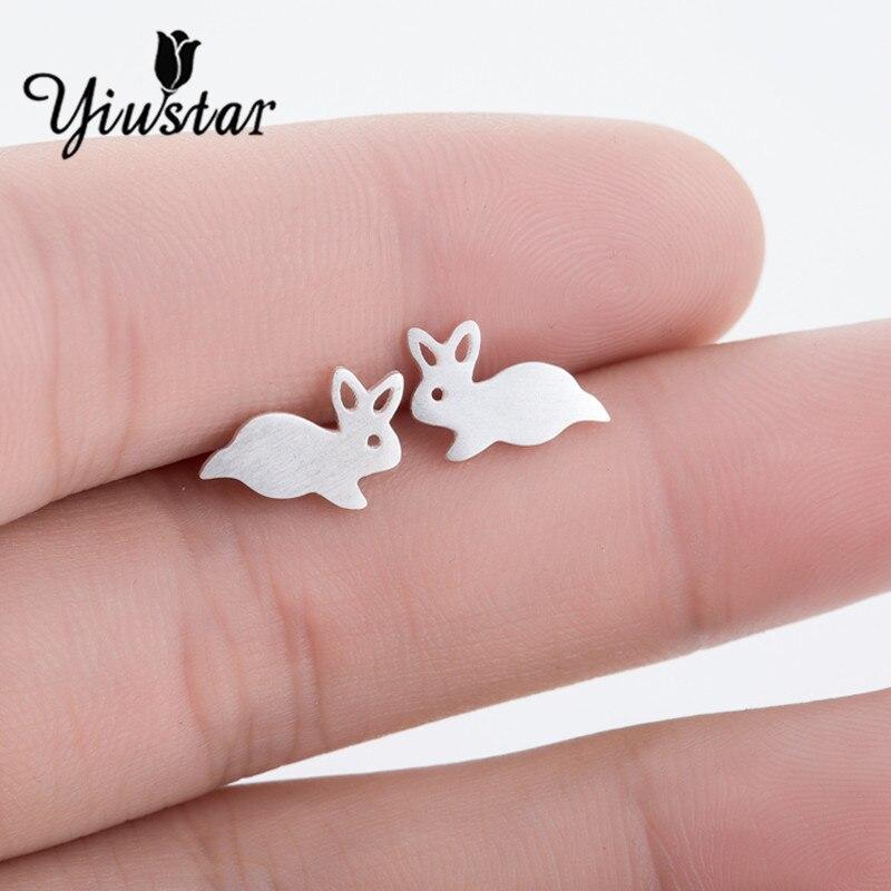 Yiustar Fashion Cute Tiny Bunny Rabbit Earring for Children Earrings Jewelry Animal Stud Earring Wedding Earrings for Women