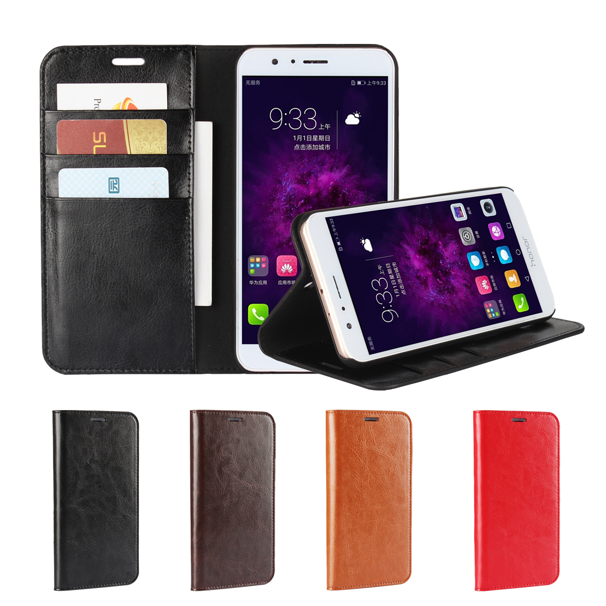 Deluxe Wallet Case For Huawei V9 for Huawei Honor 8 Pro 5 7 premium leather Case