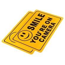 NOVA 2x Safurance SORRISO VOCÊ ESTÁ NA CÂMARA de Negócios Sinal de Aviso de Segurança Amarelo 11