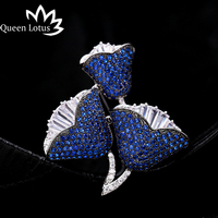 Queen Lotus New Luxury Rose Flower Brooches for Women Fashion Jewelry AAA Zircon Brooch and Pins For Gift Garment Accessories