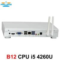 Partaker B12 Barebone Desktop Computer Mini PC Windows 10 with Intel Core I5 4260U Free WiFi 12V DC Max 8G RAM 512G SSD 1TB HDD