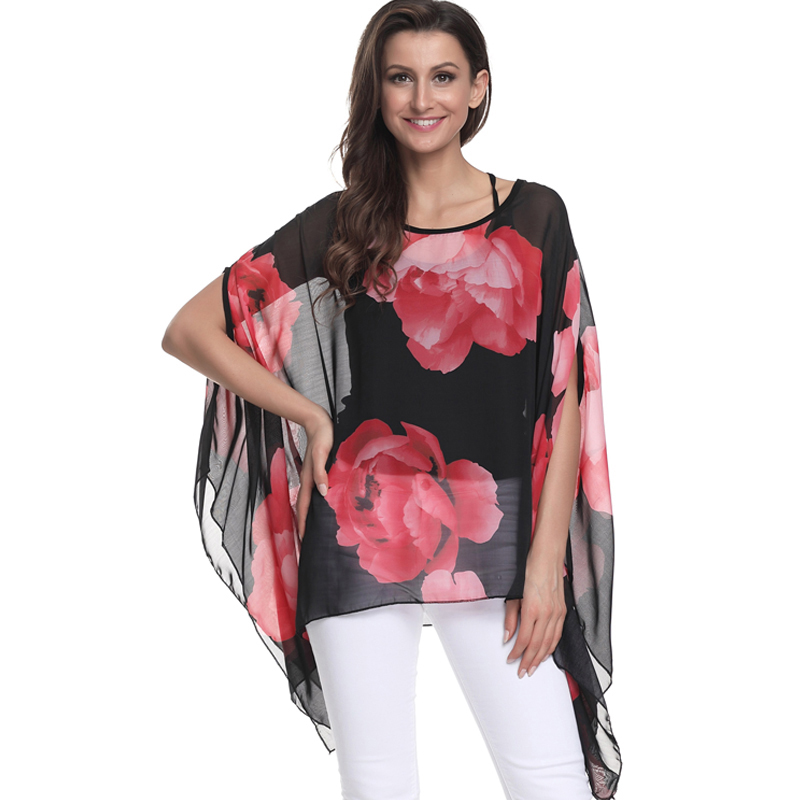 4XL 5XL 6XL Plus Size Women Clothing Chiffon   Blouse   Floral Printing Batwing Sleeve Women   Blouse     Shirt   Summer Tops blusas 2018