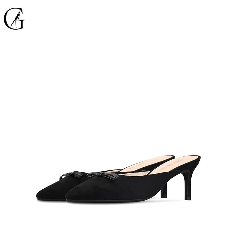 GOXEOU2019 nuevos zapatos de lana de primavera y verano de gamuza moño zapatillas baotou zapatos de tacón plano semitamaño 34 46 envío Gratis-in Zapatillas from zapatos    2