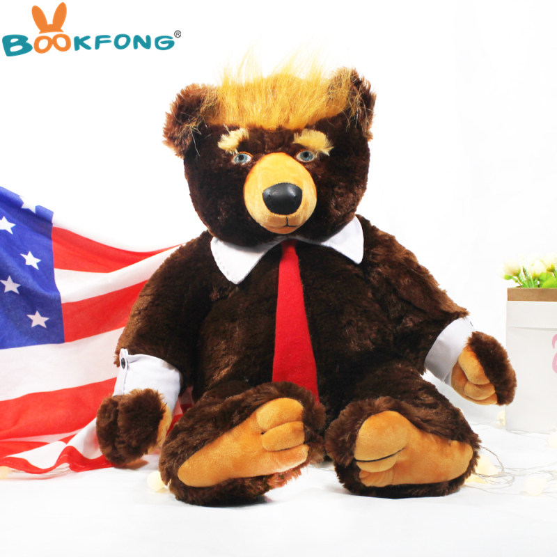 60cm Donald Trump Plush Toys Big Bear TV USA President Trump Plush Teddy Bear Dolls With US Flag Kids Friends Gift Collection presidential donald trump doll shaking head toys car oranment toy for kids