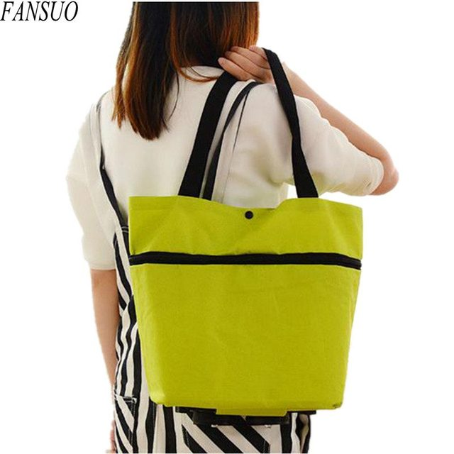Women Environmental Foldable Shopping Bag Fashion Multifunction Shopping Cart Tug Trolley Case Wheels Reusable Shopping Bag