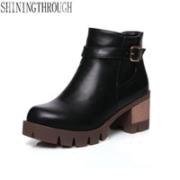 2017 New Winter Women Black High Heel Martin Boots Buckle Punk Ankle Motorcycle Combat Boots Shoes