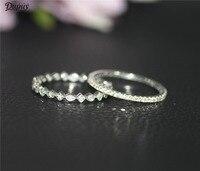 DUPUY 2pcs 14K White Gold Wedding Ring Set Dainty Full Eternity Diamonds Wedding Band Art Deco Match Ring Set Vintage Bridal Set