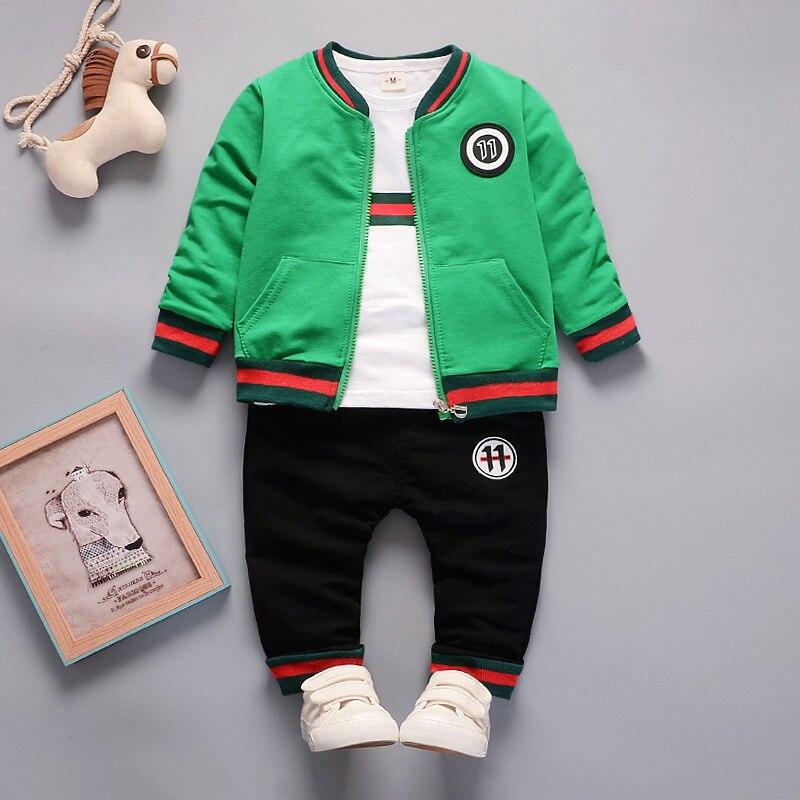 Hot Sale 2018 Spring Autumn Boys Clothes Sets Cute Infant Cotton Suits Coat+T Shirt+Pants Casual Kids Children Suits 3PCS