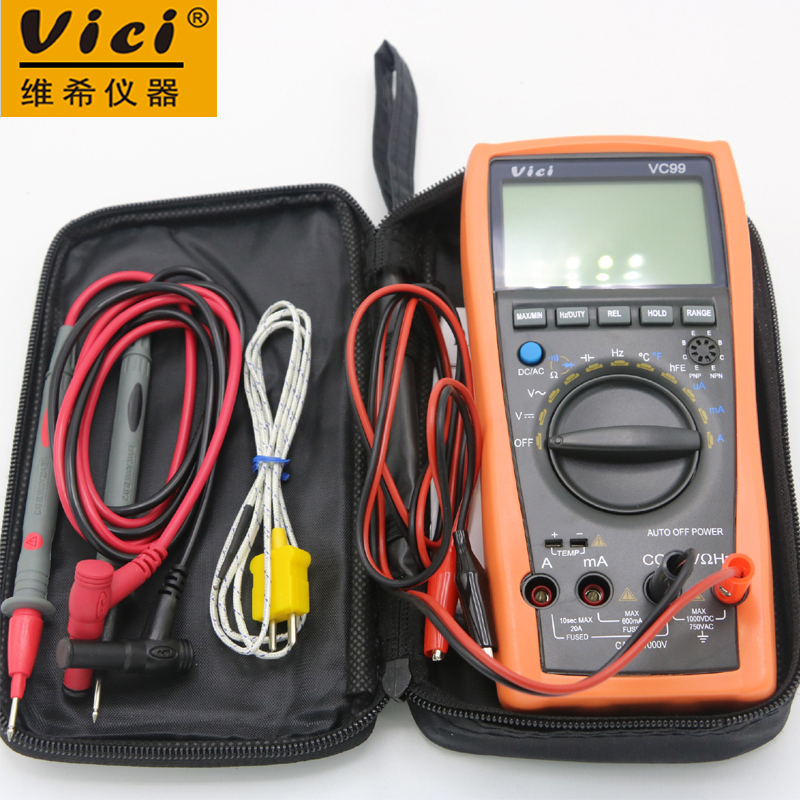 VC99 Auto Range 3 6/7 Digital Multimeter 20A Resistance Capacitance Meter Voltmeter Ammeter with Alligator Probe(1m Length) 1 pcs mastech ms8269 digital auto ranging multimeter dmm test capacitance frequency worldwide store