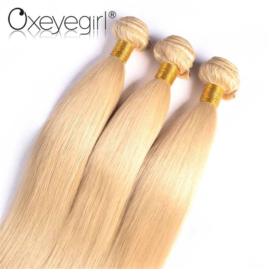 Oxeyegirl 613 Honey Blonde Bundles Brazilian Hair Weave Bundles Straight Hair Bundles 3 Bundle Deals Nonremy Hair 10-24Inch