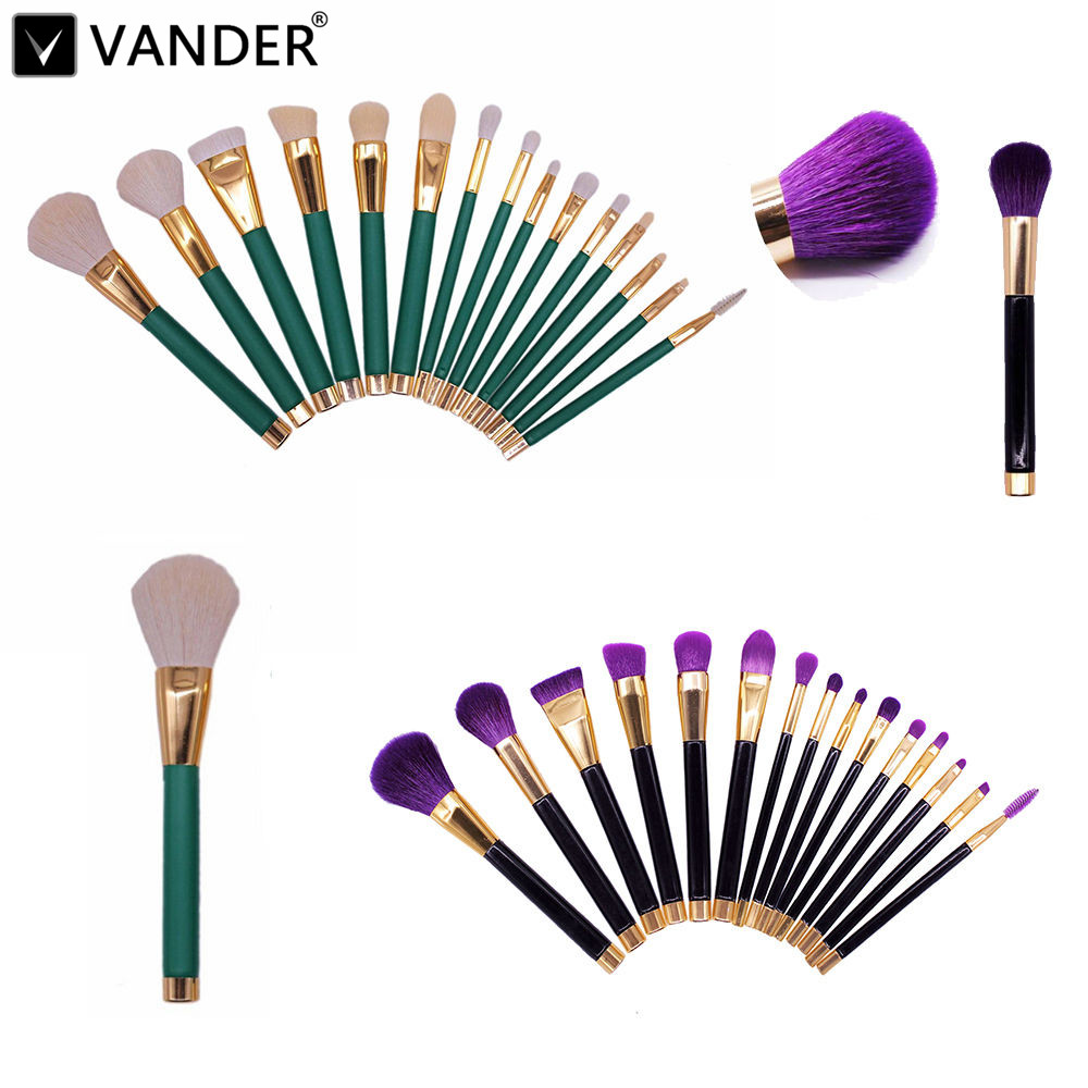 VANDER 15Pcs Professional Make up Brushes Set Foundation Blusher Powder Eyeshadow Blending Brush Tools Kit Purple/Green/Black