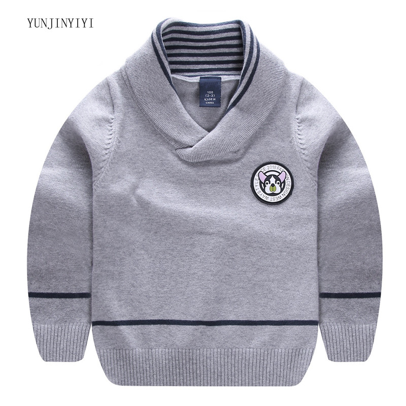 Children's fashion pullover 2018 casual brand design V lapel pullover baby boy children clothes sweater campus wind