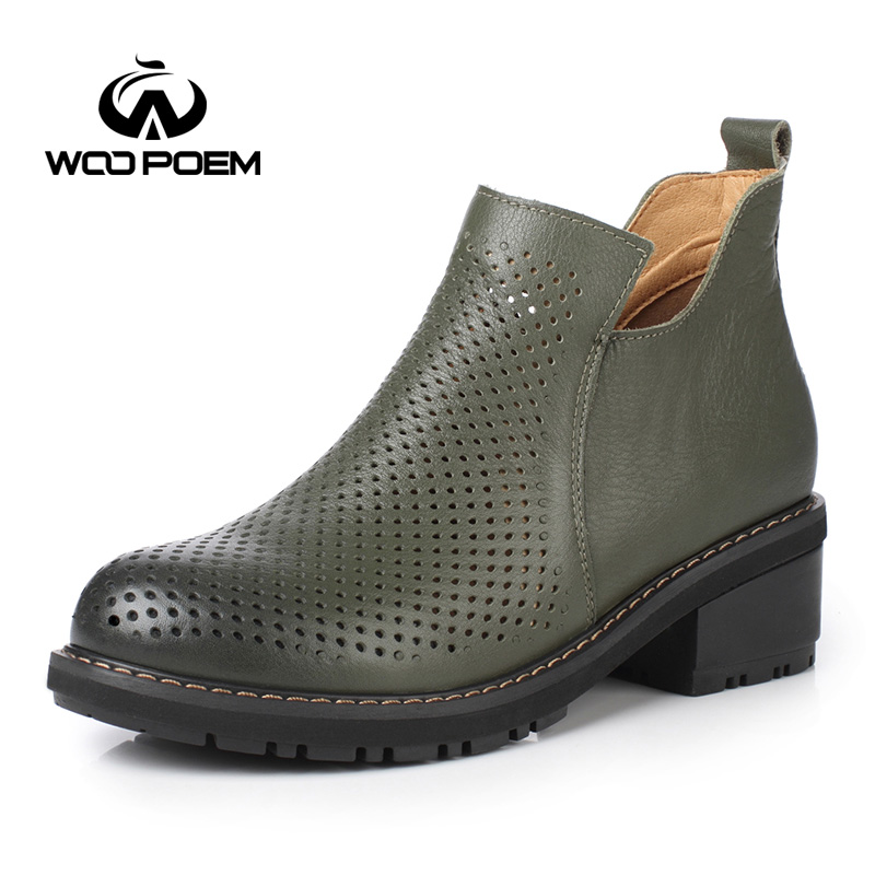 WooPoem Spring Autumn Women Shoes Breathable Cow Leather Shoes Med Heel Ankle Boot Genuine Leather Fretwork Hollow Boots 91733-1
