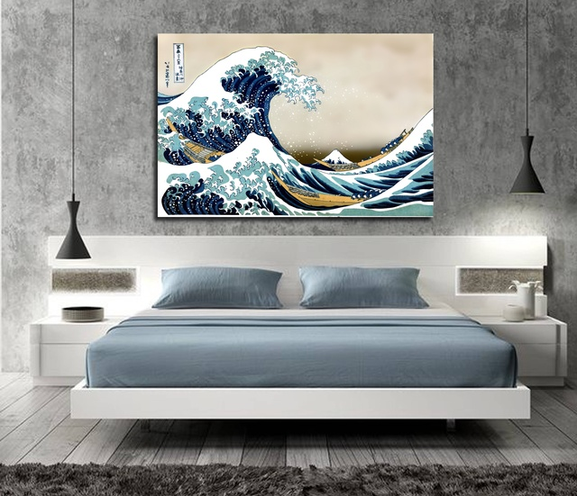 The Great Wave Off Kanagawa Poster Japanese Home Accessories Decorative Painting Silk Wallpaper Printing Process