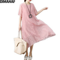 DIMANAF Women Summer Dress Plus Size Polka Dot Solid Vintage Vestidos Female European Elegnat Lady Sexy New Loose Dresses M 2XL
