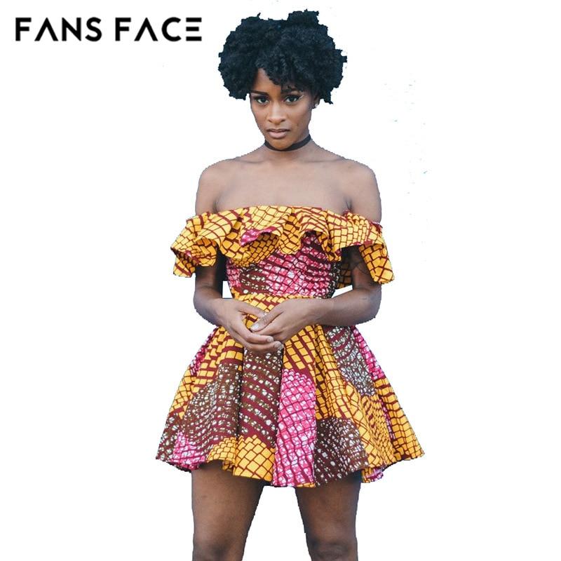 FANS FACE Summer African Dresses Brazil 2017 Women Vintage Print Beach Bohemian Dresses Women's Sundress Mini Dress