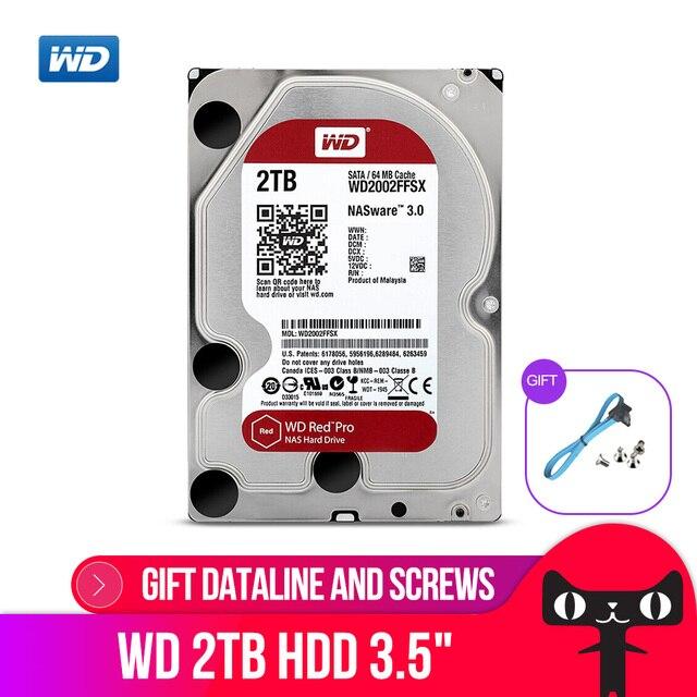 WD الأحمر برو 2 تيرا بايت القرص شبكة تخزين 3.5 NAS قرص صلب الأحمر القرص 2 تيرا بايت 7200RPM 256M مخبأ SATA3 HDD 6 جيجابايت/ثانية WD2002FFSX