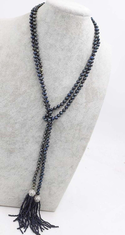 Perle d'eau douce noir près de rond 5-6mm 50
