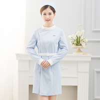 Hospital long sleeve tunic nurse uniform beauty salon SPA uniform scrubs medical uniforms women free logo custom