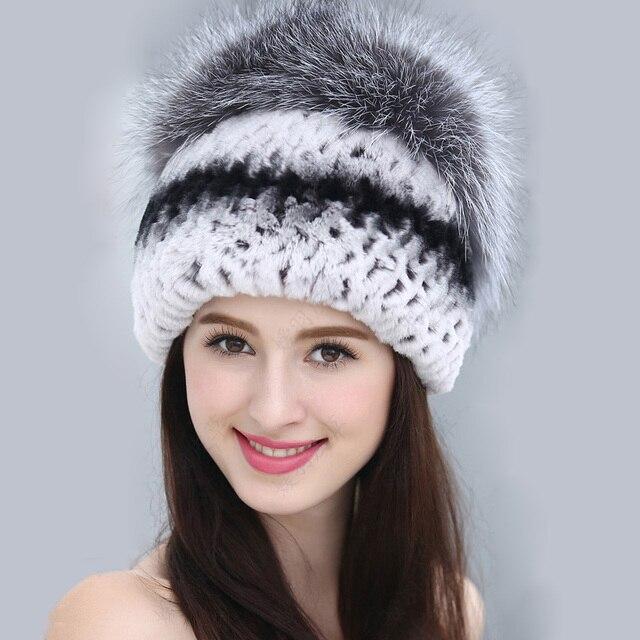 Women hat 2016 Fashion  Real Rex Rabbit fur Winter Flower on Ball Warm Black Women's Lady Genuine Rabbit Cap