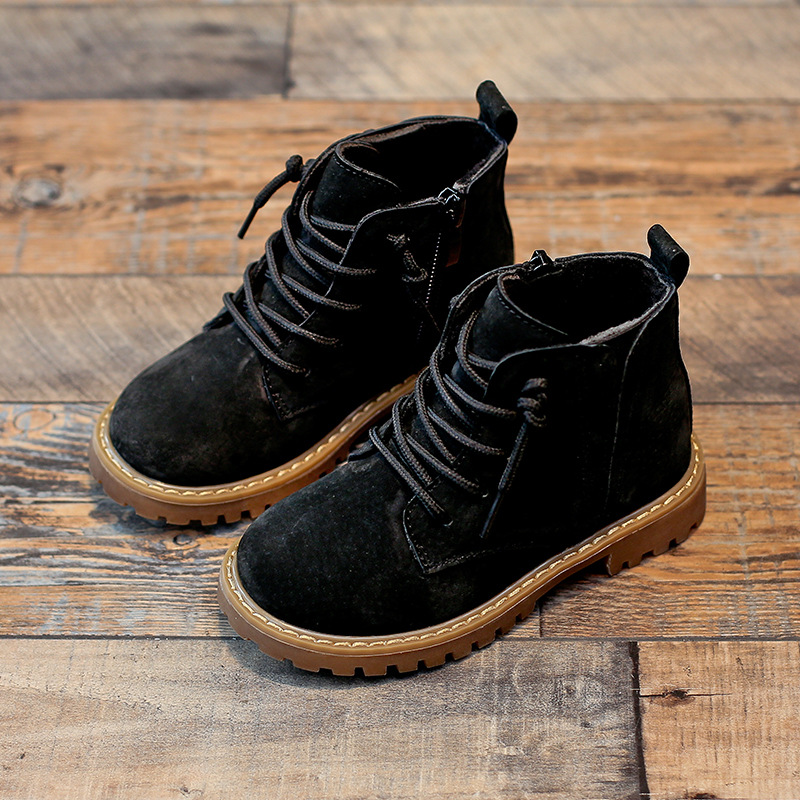Image 3 - Winter Boys Girls Boots Genuine Leather Anti suede Martin Boots Side Zipper Retro Warm Cotton Boots-in Boots from Mother & Kids