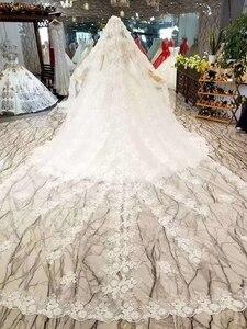 Image 3 - LS860540 שנהב קצר שרוול חתונה שמלת o צוואר נפוח הכלה שמלת סין מפעל סיטונאי ארוך 3d פרחי צעיף vestido coctel