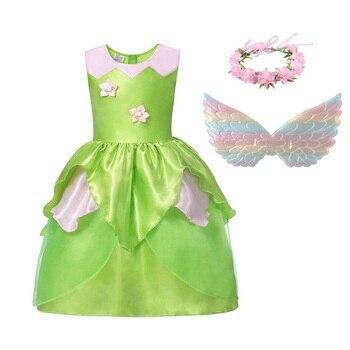 MUABABY Estate Tinkerbell Delle Ragazze Della Principessa Dress Up set di Abbigliamento Per Bambini Trilli Fata Abiti Ragazza Fotografia di Fantasia Costume Cosplay